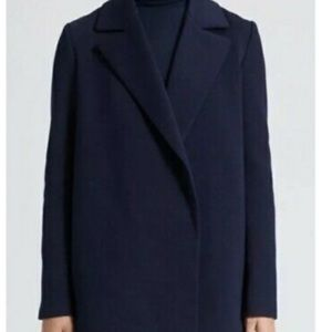 Theory Sileena Sea Navy Wool Cashmere Open Front